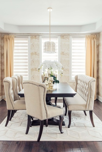 White Leather Dining Seats - Whitby Dining Room Renovations by Royal Interior Design Ltd