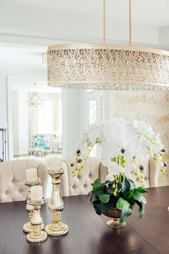 White Garden Flowers in Vase on Dining Table - Dining Room Decor Richmond Hill by Royal Interior Design Ltd