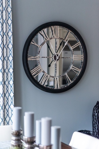 Silver Mirrored Wall Clock - Kitchen Renovation Markham by Royal Interior Design Ltd