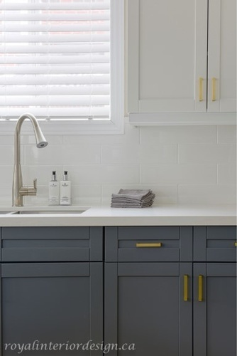 White and Grey Kitchen Cabinets - Kitchen Renovations Richmond Hill by Royal Interior Design Ltd
