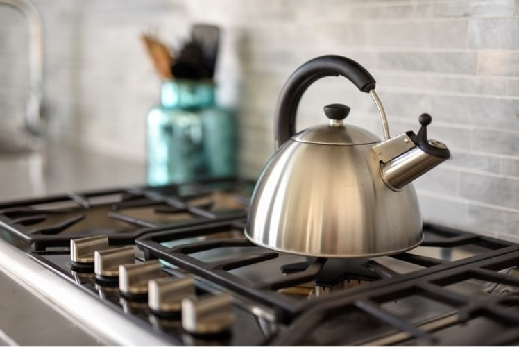Tea Kettle on Gas Stove - Stouffville Kitchen Renovations by Royal Interior Design Ltd