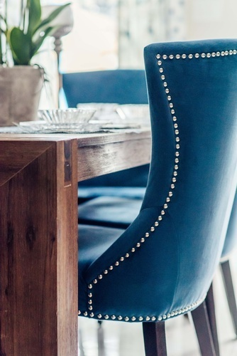 Blue Velvet Dining Chair - Kitchen Renovations Richmond Hill by Royal Interior Design Ltd