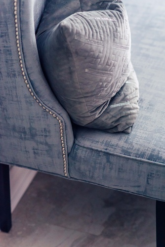 Grey Throw Pillow on Sofa - Whitby Kitchen Renovations by Royal Interior Design Ltd