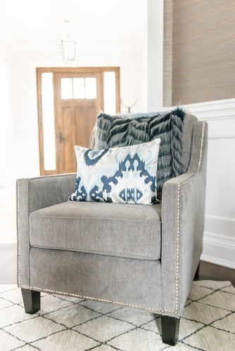 Accent Chair with Throw Pillow - Living Space Decorating Services Vaughan by Royal Interior Design Ltd