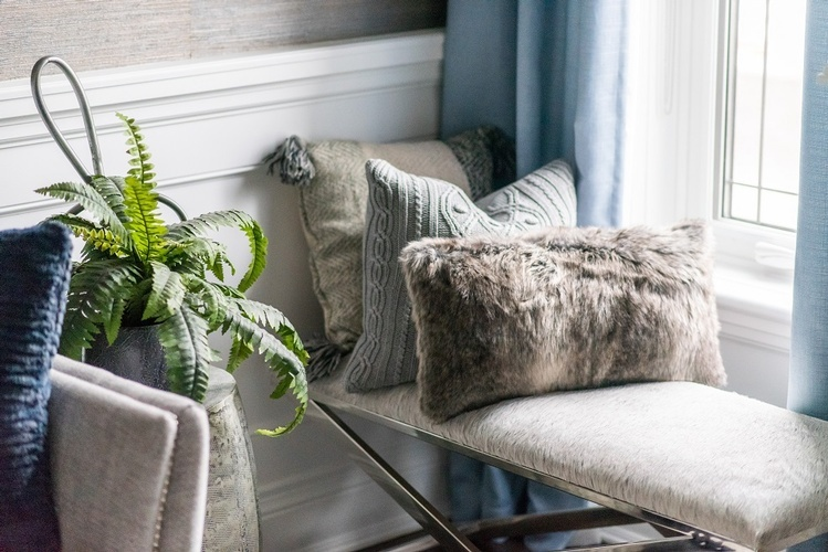 Throw Pillows on Bench Living Space Decorating Services Whitby by Royal Interior Design Ltd
