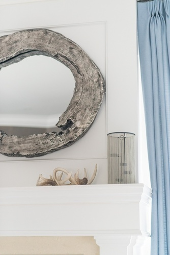 Wooden Framed Circular Mirror - Living Space Decoration Stouffville by Royal Interior Design Ltd