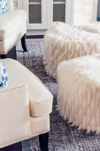 Modern Faux Fur Stools - Markham Living Space Renovations by Royal Interior Design Ltd
