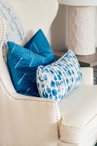 Throw Pillows on Accent Chair - Living Space Decorating Services Whitby by Royal Interior Design Ltd