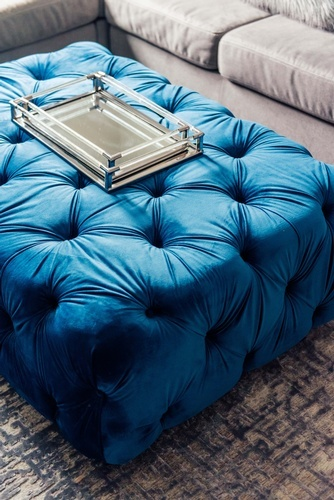 Tufted Blue Ottoman - Living Space Decor Markham by Royal Interior Design Ltd