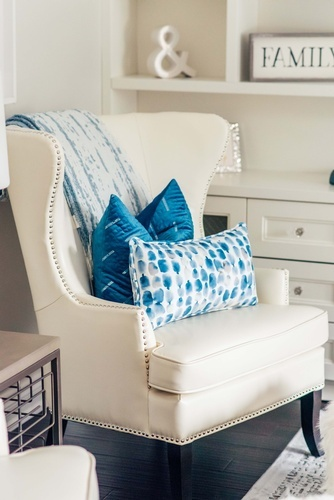 White Leather Wing Chair - Living Space Decorating Whitby by Royal Interior Design Ltd