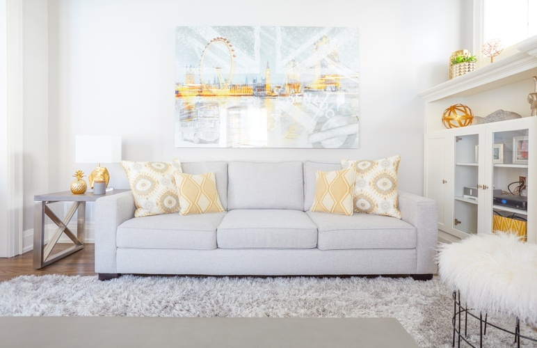 Grey Couch with Throw Pillows - Living Space Decorating Services Aurora by Royal Interior Design Ltd