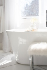 Faux Fur Stool near Tub - Bathroom Renovations Aurora ON by Royal Interior Design Ltd