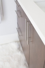 White and Brown Bathroom Vanity Cabinets - Whitby Bathroom Renovations by Royal Interior Design Ltd