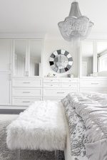 Crystal Chandelier Above Bed - Bedroom Decor Aurora by Royal Interior Design Ltd