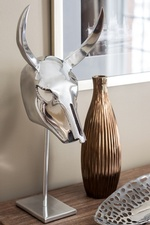 Metallic Bull Head on Accent Table - Markham Bedroom Renovation Services by Royal Interior Design Ltd
