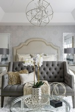 Decorative accents on Coffee Table - Aurora Bedroom Decor by Royal Interior Design Ltd