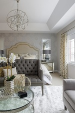 Modern Chandelier over Bed - Bedroom Renovation in GTA by Royal Interior Design Ltd
