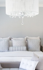 Crystal Glass Chandelier over Bed - Markham Bedroom Renovation by Royal Interior Design Ltd