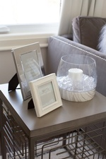 Side Table with Photo Frames and Candle Holder - Bedroom Renovations Newmarket by Royal Interior Design Ltd