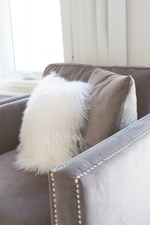 White and Grey Throw Pillows on Gray Armchair - Bedroom Decor Richmond Hill by Royal Interior Design Ltd