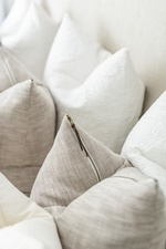 Stacked Pillows on Bed - Stouffville Bedroom Renovations by Royal Interior Design Ltd