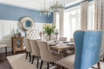 Modern Blue Dining Room Design in Markham by Royal Interior Design Ltd