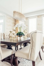 Candle Holders and Flower Vase on Dining Table - Dining Room Design in Aurora by Royal Interior Design Ltd
