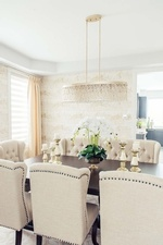 Modern Chandelier over Dining Table - Dining Room Renovations Stouffville ON by Royal Interior Design Ltd