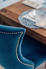 Blue Velvet Dining Chair - Newmarket  Kitchen Renovations by Royal Interior Design Ltd