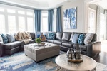 Grey Leather Sectional - Living Space Renovations Richmond Hill by Royal Interior Design Ltd