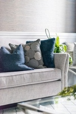 Blue Throw Pillows on Couch - Living Space Renovations Richmond Hill by Royal Interior Design Ltd