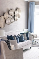 Blue Throw Pillows on White Couch - Living Space Decorating Services Newmarket by Royal Interior Design Ltd