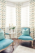 Blue Accent Chairs Near Window - GTA Living Space Renovations by Royal Interior Design Ltd
