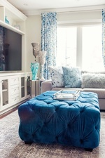 Blue Tufted Ottoman - Living Space Renovations Richmond Hill by Royal Interior Design Ltd