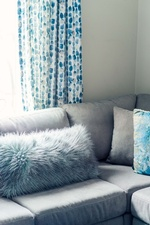 Faux Fur Throw Pillows on Couch - Living Space Decorating Services Vaughan by Royal Interior Design Ltd