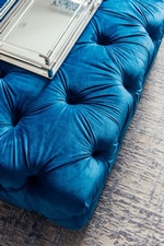 Tufted Blue Ottoman - Living Space Design GTA by Royal Interior Design Ltd