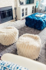 White Faux Fur Stools - Living Space Decorating Services Thornhill ON by Royal Interior Design Ltd