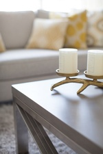 Small Candle Holders on Coffee Table - Living Space Renovations Whitby by Royal Interior Design Ltd