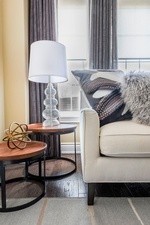 White Table Lamp Shade on Side Table - Living Space Decorating Services Aurora by Royal Interior Design Ltd