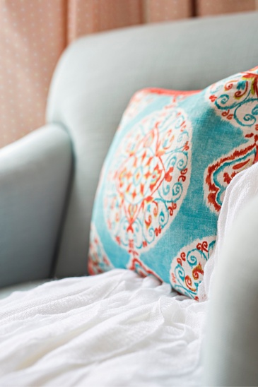 Throw Pillow on Couch - Cheerful Nursery by Royal Interior Design Ltd. - Renovation Services Aurora
