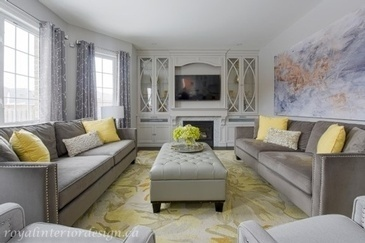 Accents of Yellow - Living Space Decorating Services Vaughan by Royal Interior Design Ltd.