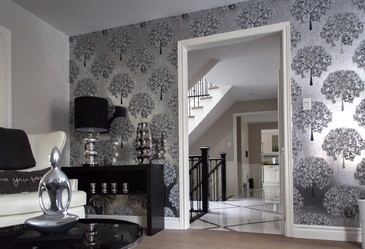 Black and White Living Space Renovation Aurora by Royal Interior Design Ltd.