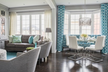 Bright Turquoise Living Space Renovation Services Vaughan by Royal Interior Design Ltd.