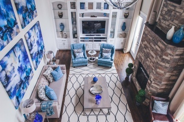 Bright Blue Living Space Decorating Whitby by Royal Interior Design Ltd.