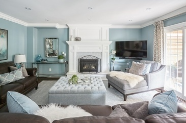 Classic and Luxurious Family Room Decorating Services Whitby by Royal Interior Design Ltd.