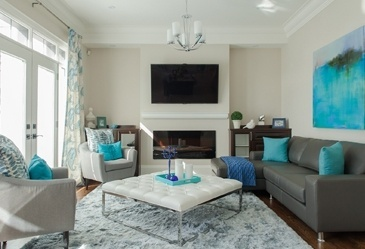 Greys With Teals and Blues - Living Space Decorating Services Vaughan by Royal Interior Design Ltd.