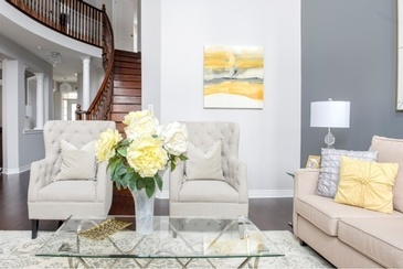 Mellow Yellow Living Space Renovations Stouffville by Royal Interior Design Ltd.