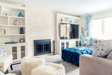 Aesthetic Blue Living Space Decorating Services Thornhill by Royal Interior Design Ltd.