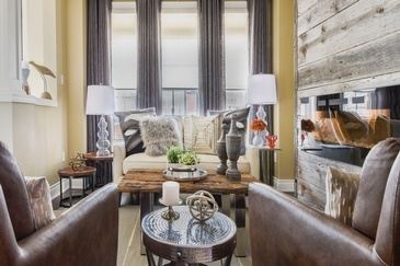 Masculine Rustic Living Space Renovations Richmond Hill by Royal Interior Design Ltd.