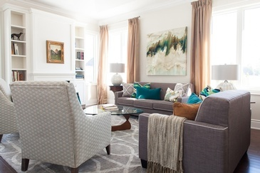 Pop of Colour - Thornhill Living Space Renovations by Royal Interior Design Ltd.